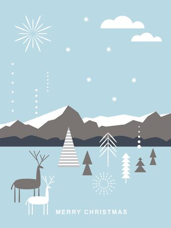 Biglietto natalizio . Cervi di Natale stilizzati, montagne, fiocchi di neve, alberi di Natale, semplice stile scandinavo minimalista