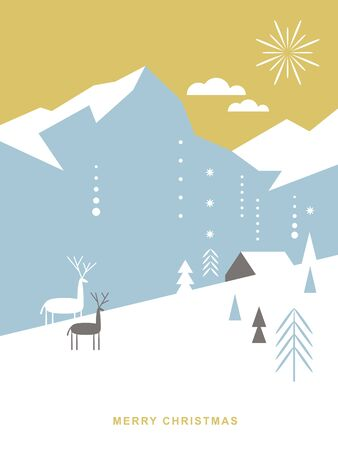 Christmas card . Stylized Christmas deers, mountains, chalet, snowflakes, Christmas trees, simple minimalistic scandinavian style