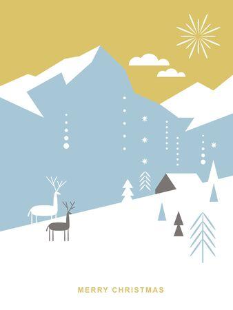 Weihnachtskarte . Stilisierte Weihnachtshirsche, Berge, Chalet, Schneeflocken, Weihnachtsbäume, einfacher minimalistischer skandinavischer Stil Vektorgrafik