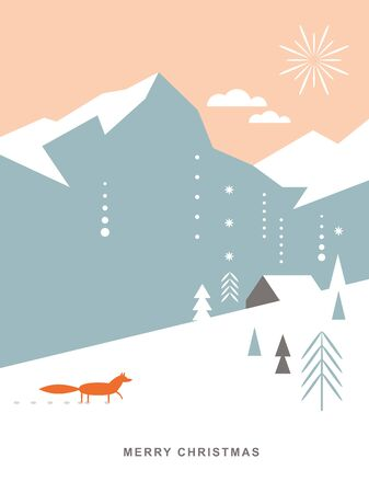 Christmas card . Stylized Christmas fox, mountains, snowflakes, Christmas trees, landscape, simple minimalistic scandinavian style Ilustração
