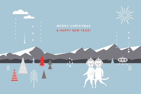 Greeting card, Happy New Year, Christmas card, banner, poster design. Couple of cute cats spacemen, winter landscape, mountains.