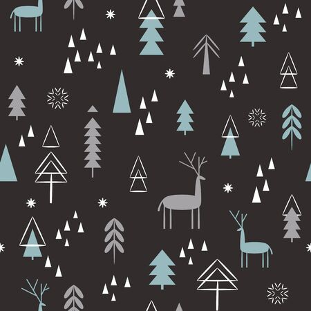 Seamless Christmas pattern. Christmas deer, snowflakes, stylized trees, dark background. Idea for gift paper, wrapping paper