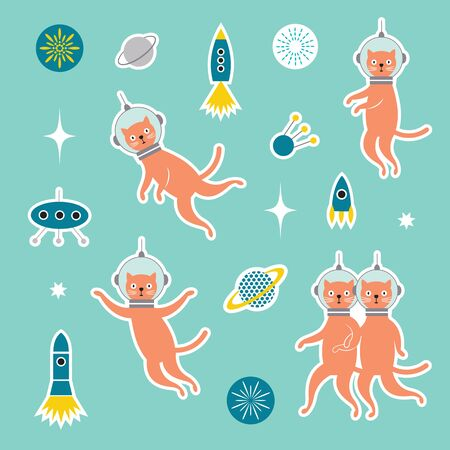 Set od stickers with cats spacemen