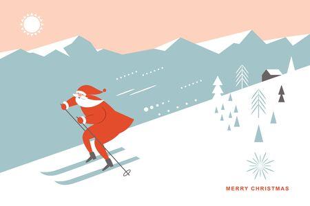 Kerstman skiën bergafwaarts in hoge bergen, wenskaart, seizoensgroeten, poster, spandoek, Merry Christms horizontale kaart