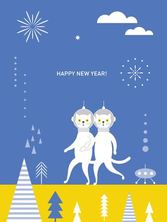 Greeting card, Happy New Year, Christmas card, banner, poster design. Couple of cute cats spacemen.