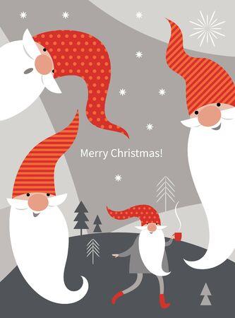 Weihnachtskarte, Weihnachtsgrüße, süße Weihnachtszwerge in roten Hüten