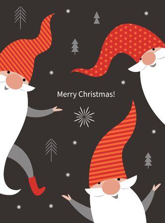 Christmas Card, Seasons greetings , cute Christmas gnomes in red hats