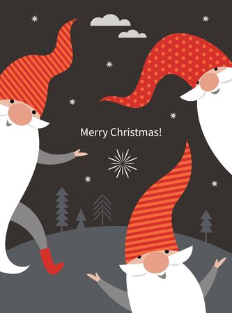 Christmas Card, Seasons greetings , cute Christmas gnomes in red hats