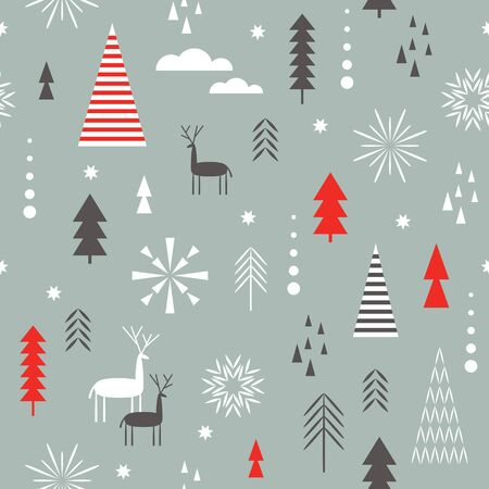 Seamless Christmas pattern. Stylized Christmas deers, snowflakes, forest, trees. Idea for fabric , tablecloth pattern. Seamless Christmas pattern.