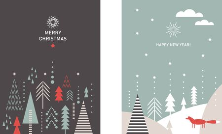 Set of Christmas vertical banners. Stylized Christmas trees, snowflakes, forest, Christmas trees, minimalistic scandinavian style