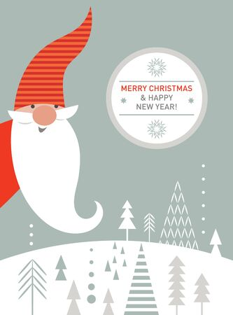 Christmas Card, Seasons greetings, cute Christmas gnome in red hat  イラスト・ベクター素材