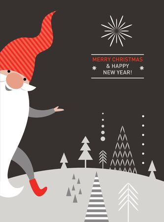 Christmas Card, Seasons greetings, cute Christmas gnome in red hat Illustration