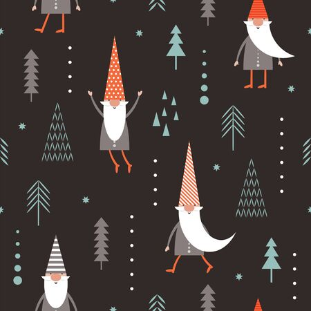 Seamless pattern with cute Gnomes. Christmas background, Season greeting, idea for wrapping paper, gifts boxes, wallpaper