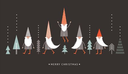 Christmas Card, Seasons greetings, cute  Gnomes in red hats on black background