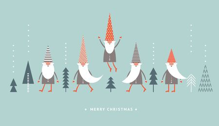 Weihnachtskarte, Weihnachtsgrüße, süße Zwerge in roten Hüten auf blauem Hintergrund