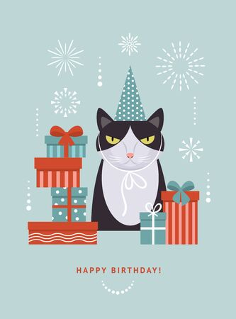 Cat in hat with gift boxes, illustration for greeting card,  banner, poster, perfect for any holidays. 일러스트
