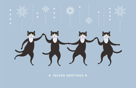 Four cute cats dancing , illustration for greeting card,  banner, poster, perfect for any holidays.