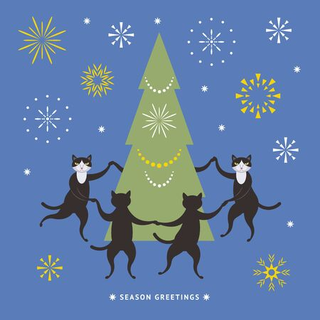 Cats dance around the Christmas tree, illustration for greeting card, banner, poster