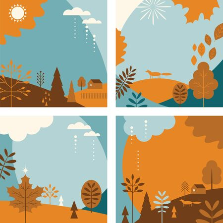 Autumn banners, set of abstract background designs, fall sale posters