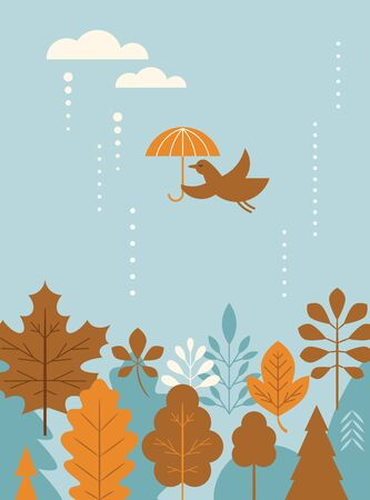 Autumn banner, card, bird flying with umbrella , stylized fall leaves Ilustração