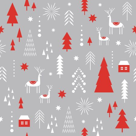 Seamless Christmas pattern. Stylized Christmas deers, snowflakes, forest, trees. Idea for fabric, tablecloth pattern, wrapping paper, gift paper