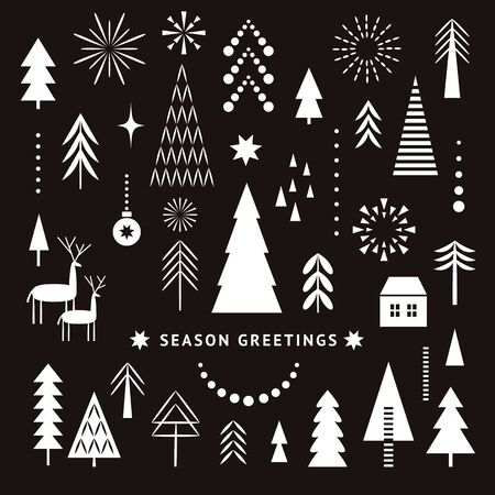 Set of black and white design elements on Christmas theme, stylized silhouettes of Christmas trees