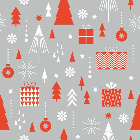 Seamless Christmas pattern. Stylized snowflakes, trees. Idea for fabric, tablecloth pattern, wrapping paper, gift paper Illusztráció