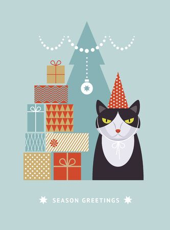Cat in hat with gift boxes, idea for greeting card Vettoriali