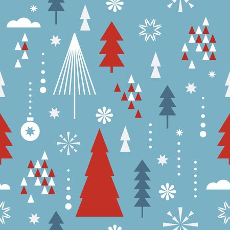 Seamless Christmas pattern. Stylized  snowflakes, trees. Idea for fabric, tablecloth pattern, wrapping paper Illusztráció