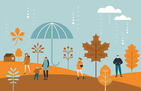 Autumn banner,fall leaves, people, big umbrella , stylized trees