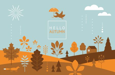 Autumn banner,fall leaves, bird flying with umbrella , stylized trees