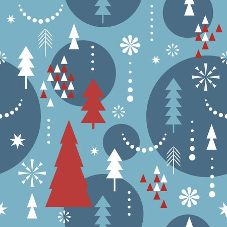 Seamless Christmas pattern. Stylized  snowflakes, trees. Idea for fabric, tablecloth pattern, wrapping paper Standard-Bild - 133187375