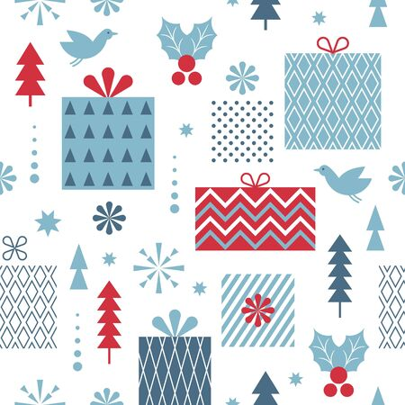 Seamless Christmas pattern. Stylized Christmas gift boxes, snowflakes, trees. Idea for fabric, tablecloth pattern, wrapping paper