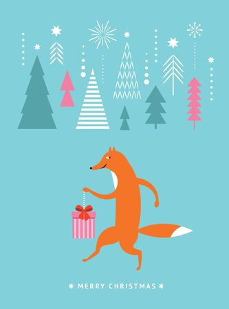 Christams greeting card, postcard, Seasons greetings. Cute fox with gift. Stock fotó - 131896749