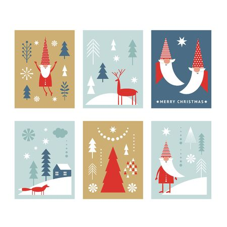 Set of Christmas or New Yers banners, greeting cards, stylized Santa, trees, deers, winter landscape.  Minimalist style.