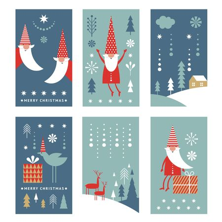Set of vertical Christmas or New Yers banners, greeting cards, stylized Santa, trees, deers, winter landscape.  Minimalist style.