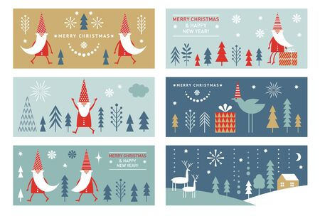 Set of horizontal Christmas or New Yers banners, greeting cards, stylized Santa, trees, deers, winter landscape.  Minimalist style.