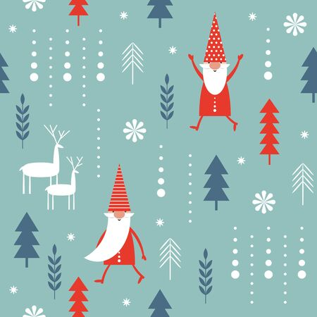 Seamless Christmas pattern. Stylized Christmas trees, snowflakes, cute Christmas gnomes. Idea for fabric, tablecloth pattern, wrapping paper, gift paper