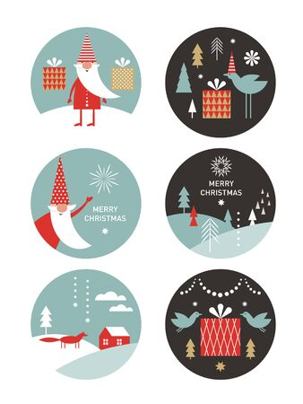 set of round label with winter and Christmas illustrations. Happy New Year, Collection of Greeting cards Ilustração