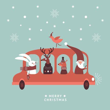 Christmas illustration. Santa, rabbit, deer and squirrel go by bus  イラスト・ベクター素材