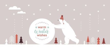Big white bear in red knitted hat rolls a snowball, Christmas Card, Seasons greetings illustration, horizontal banner