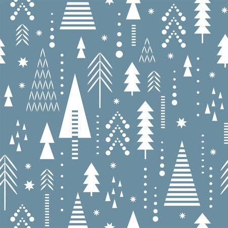 Seamless Christmas pattern. Stylized Christmas trees, snowflakes, pattern for fabric, tablecloth , wrapping paper, gift paper etc.