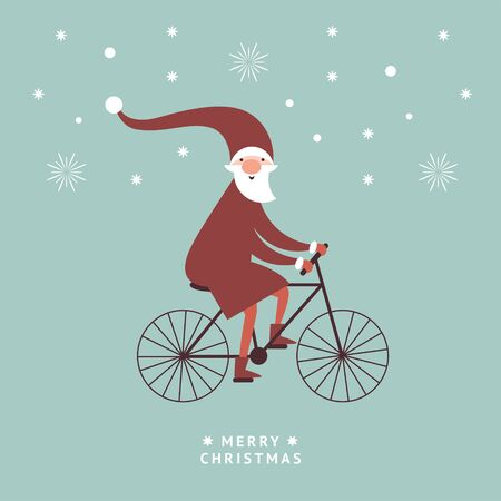 Santa is going by bicycle , greeting card, christmas illustration Ilustração