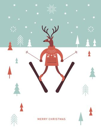 Christams greeting card, postcard, banner. Christmas deer in knitted sweater skiing . Seasons greetings. Illustration in flat style.