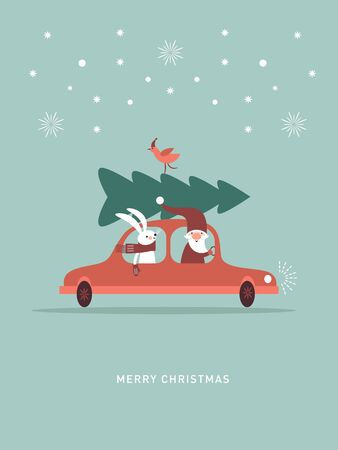 Christmas illustration. Santa and rabbit in knitted scarf are going by car and carry Ð¡hristmas tree