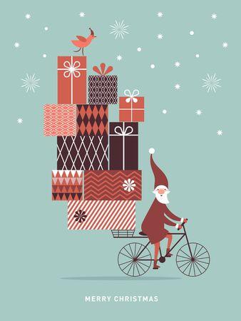 Sinterklaas komt naar de stad. Kerst illustratie. De kerstman gaat op de fiets en draagt grote geschenkdozen