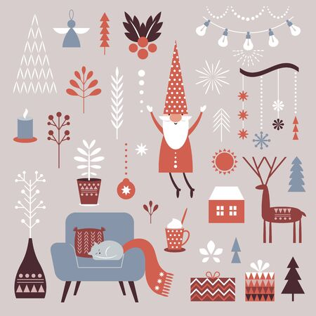 Set of Nordic Christmas graphic elements, cozy cute decorative illustrations