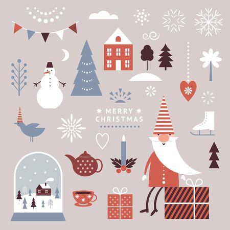 Set of Christmas graphic elements, winter illustrations  イラスト・ベクター素材