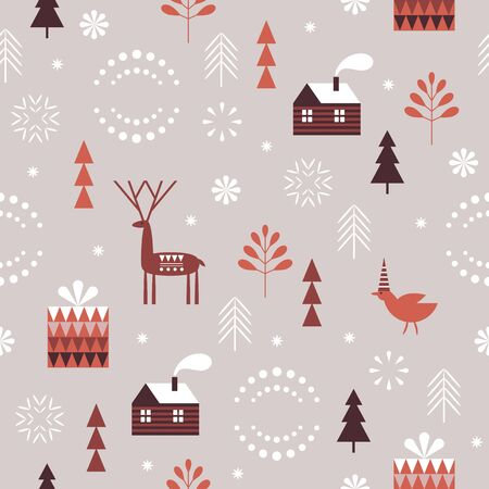 Seamless Christmas pattern. Stylized Christmas trees, snowflakes, Christmas deer. Idea for fabric, tablecloth pattern, wrapping paper, gift paper