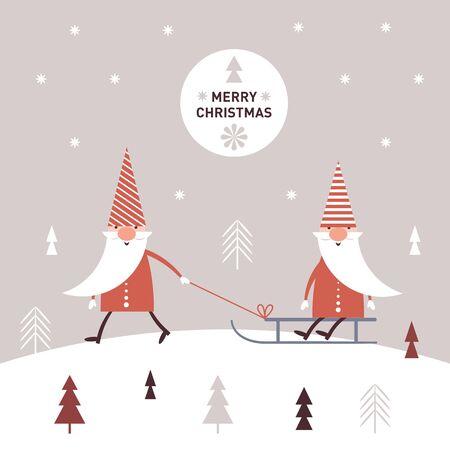 Greeting Christmas card, cute christmas gnomes in red hats sledding Illusztráció